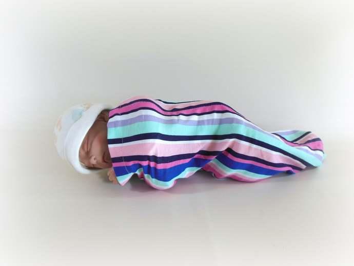 Swaddle Sack, Sleep Sack, Cocoon, Blanket, Wrap in Stripes