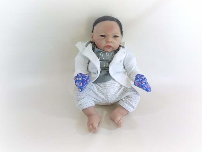 Infant Scratch Mittens, Baby Mittens, No Scratch Mittens in Purple Geometric