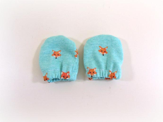 Infant Scratch Mittens, Baby Mittens, No Scratch Mittens in Foxes