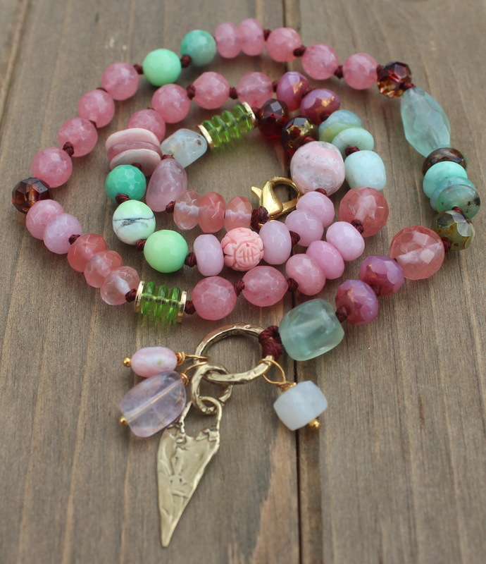 Spiritual Growth Beaded Necklace Pink & Green Sparkling Gem Jewelry by KnottedUp