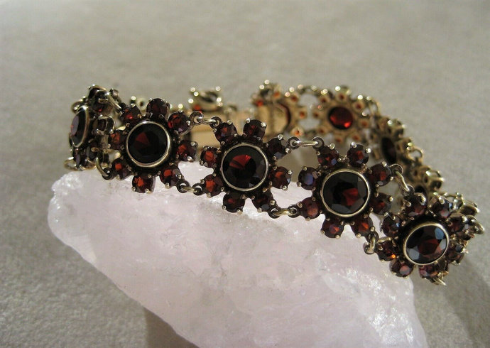 Beautiful, antique dark Bohemian garnets segments bracelet, 925 silver, gilded