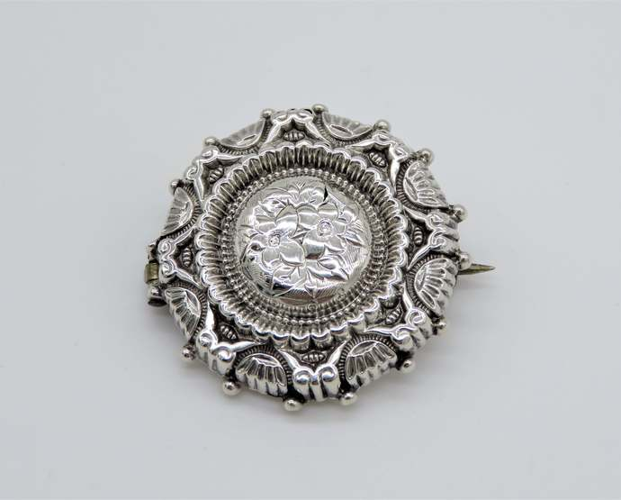 Ornate Victorian Silver Locket Mourning Brooch with forget me not detail