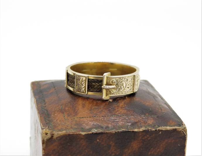 Early Victorian 18ct Gold Buckle Mourning Hair Ring - Antique Belt buckle ring,