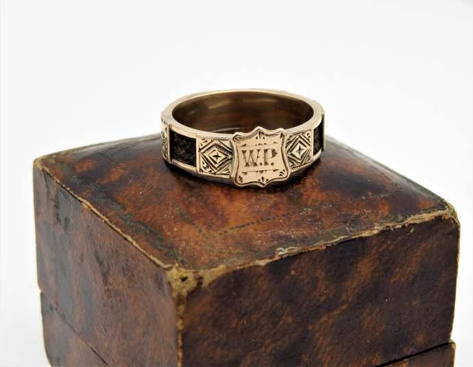 Georgian 22ct Rose Gold Mourning Hair Inscribed Ring