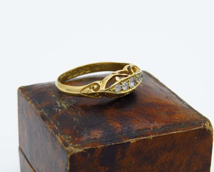 Antique 18ct yellow gold five paste stone Boat Ring - Chester