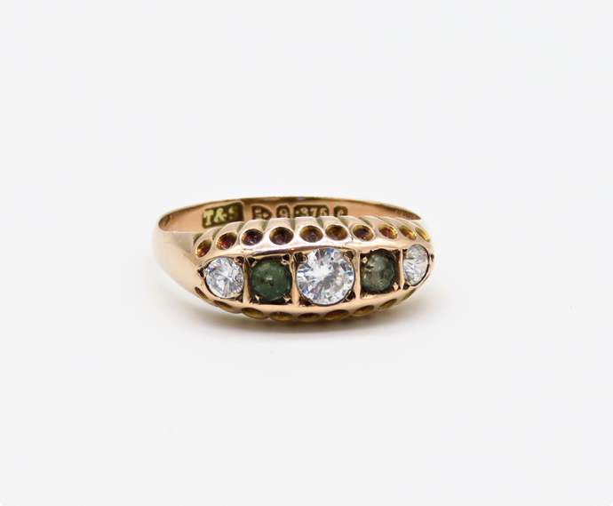 Antique Victorian 9ct Rose Gold 6 stone Peridot and white paste stone ring   -