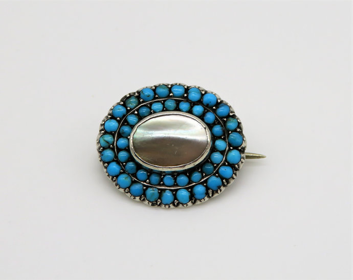 Georgian Mother Of Pearl & Turquoise on 900 Silver Mourning Brooch - 1820