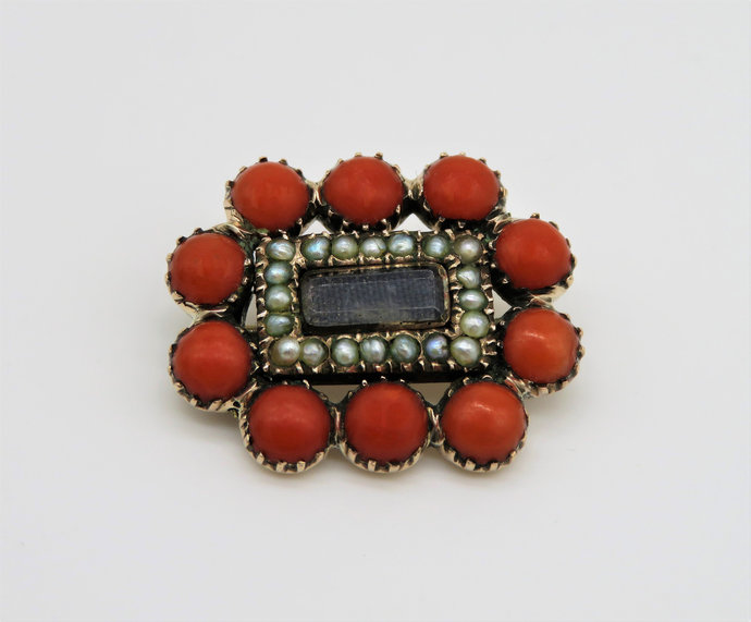 Victorian Coral and Seed Pearl Mourning Brooch with woven Hair - inscribed
