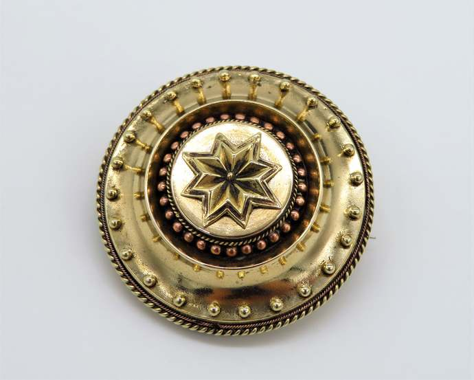Antique Victorian Target Locket Mourning Brooch pendant