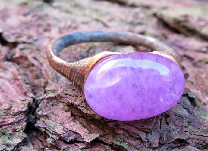 Unique Polished 200-400 A.D Roman Ring with Amethyst