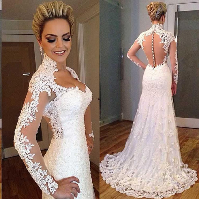 Long Sleeve Appliques Mermaid Wedding Dresses, See Though Back White Lace