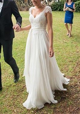 Cap Sleeve Appliques A Line White Wedding Dress, Pretty A Line Bridal Dresses