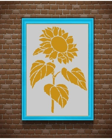 Sunflower silhouette cross stitch pattern in pdf