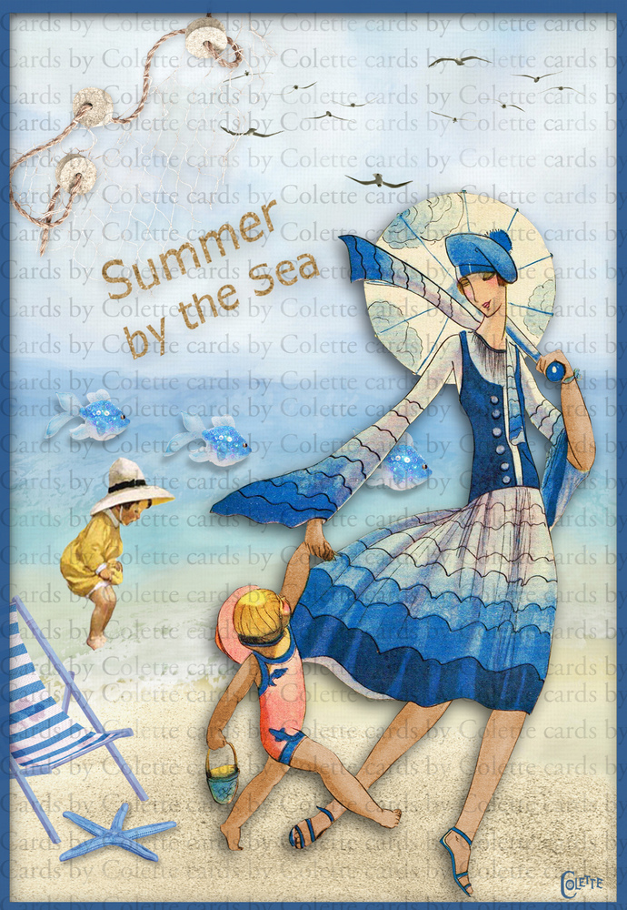 Summer by the Sea Digital Collage Greeting Card2347