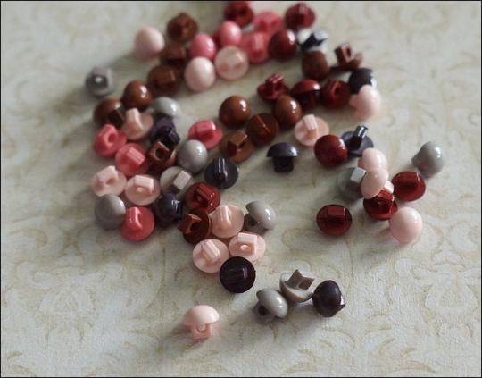 100 pcs of Tiny Button Mushroom Shape Pink - Assorted Color - 5 mm