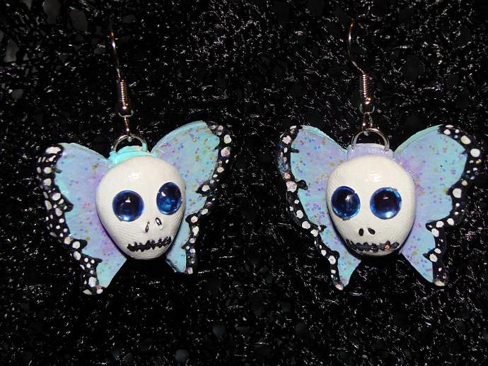 "Hand-crafted ""Skullifly"" Butterflies w/ Skull Dangle Earrings"