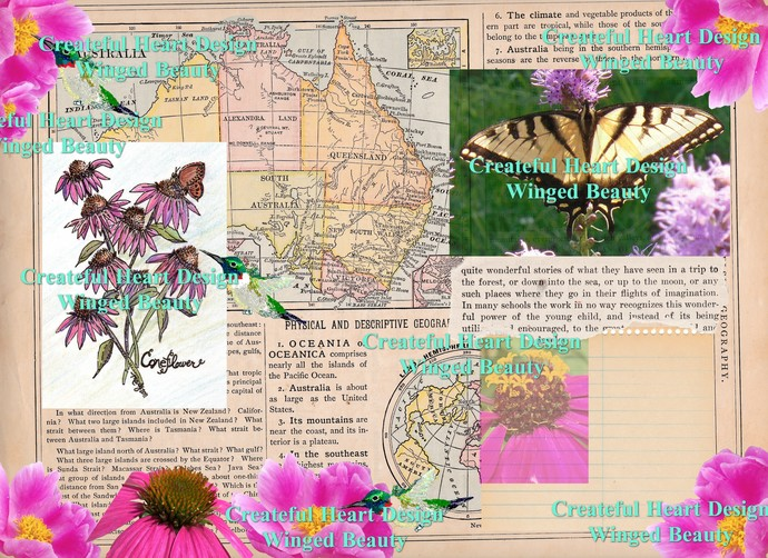 Set of 3 Nature Collage Papers, digital files
