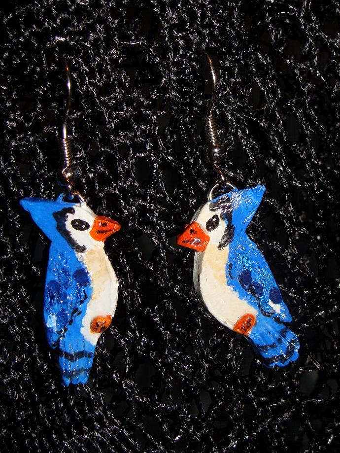 Hand-crafted Blue Jay Bird Dangle Earrings
