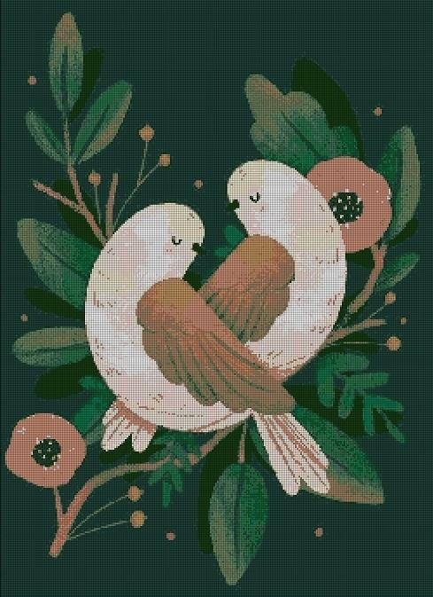 Folk art birds cross stitch pattern in pdf ANCHOR