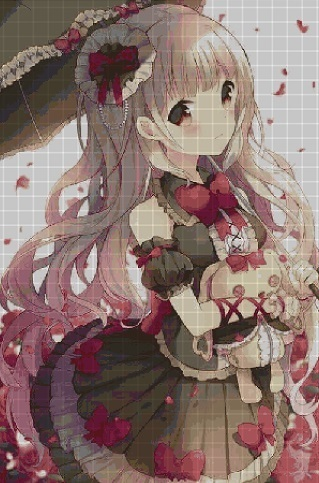 Girl with bunny anime cross stitch pattern in pdf ANCHOR