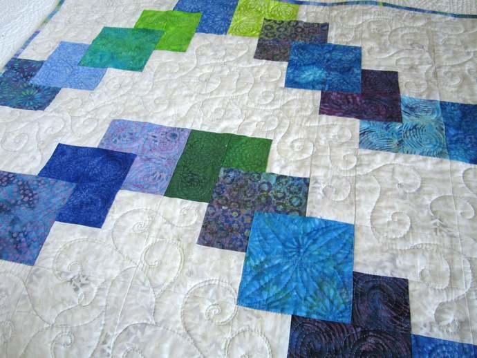 Patchwork Quilt Handmade Batik Throw Homemade Home Decor Green Teal, Purple,