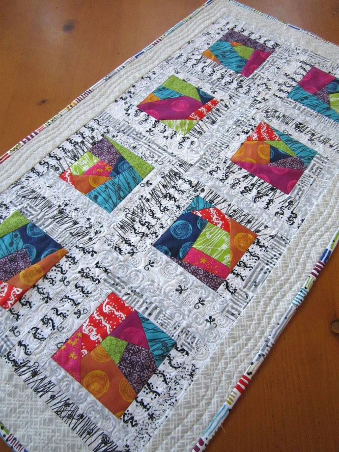 Table Topper Modern Tabletop Quilted Handmade Gift