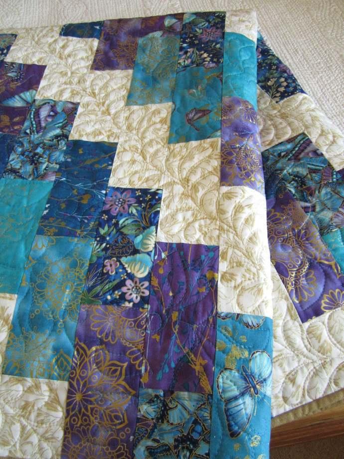 Handmade Patchwork Quilt Home Decor Gift Butterflies Blue Purple