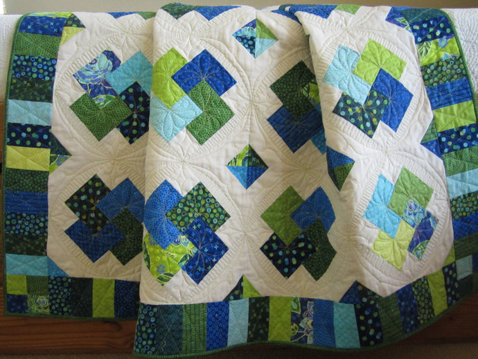 Homemade Quilt Handmade Patchwork Quilt for Sale Green and Blue Card Trick Quilt