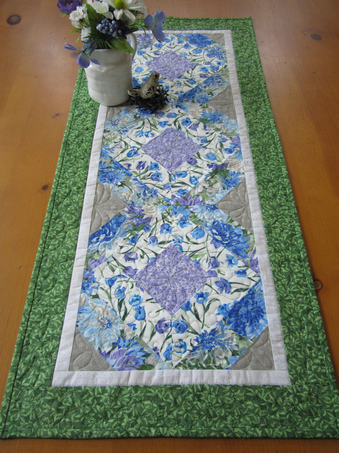 Table Runner Handmade Quilted Floral Runner Blue Purple Green Handmade Gifts