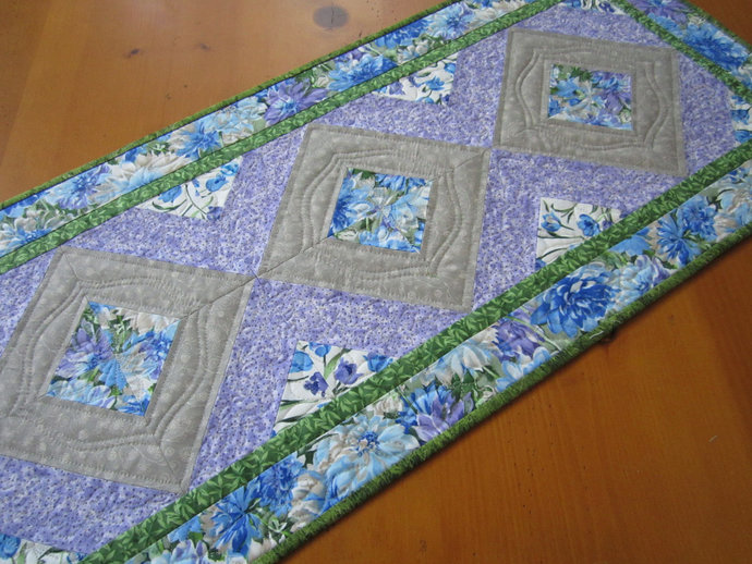 Quilted Table Runner Handmade Spring Floral Runner Blue Purple Handmade Gifts