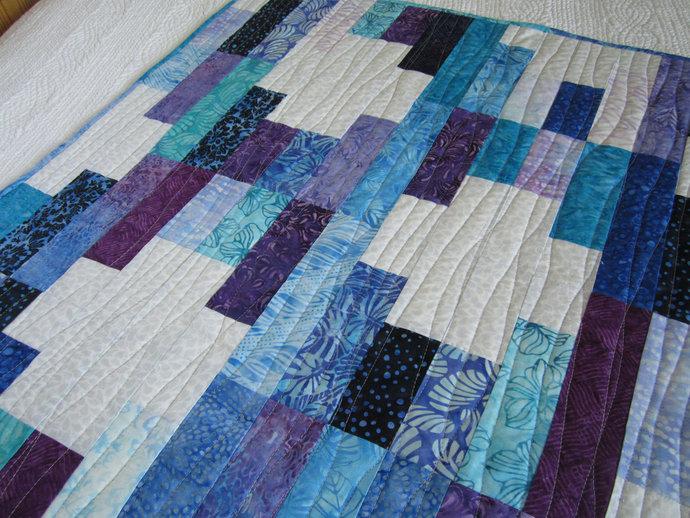 Batik Quilt Homemade Patchwork Quilt Jewel Tones Handmade Gift