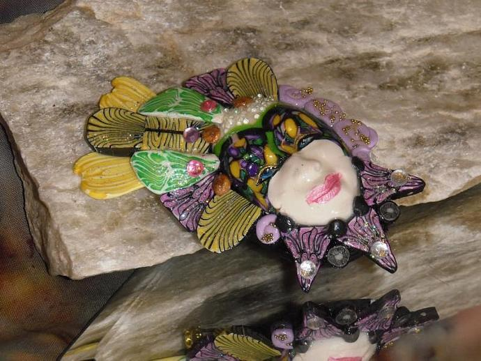 Hand sculpted polymer clay MARDI GRAS mask brooch or pin version6