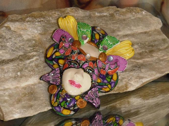 Hand sculpted polymer clay MARDI GRAS mask brooch or pin version 7