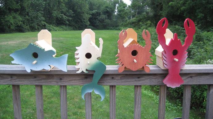 Mermaid, Lobster, Crab, Bass Bird House; Nautical Bird House; Bird Houses for