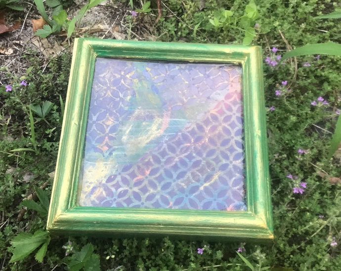 Green and Gold Frame with Geometric Layered Design
