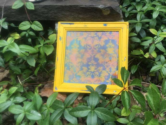Damask Painting on Multi Color Background with Yellow/Blue Distressed Frame