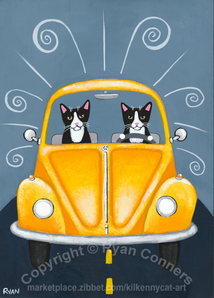 Sunny Yellow Cats on a Road Trip Original Cat Folk Art Painting
