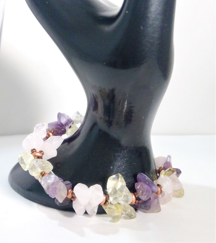 Gemstone mix Handmade Bracelet Amethyst Citrine Rose Quartz free Matching