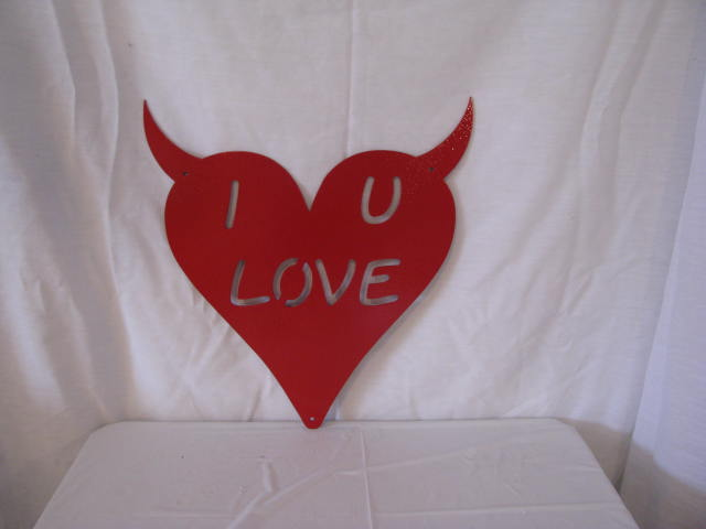 Valentine Naughty Heart Metal Silhouette Red