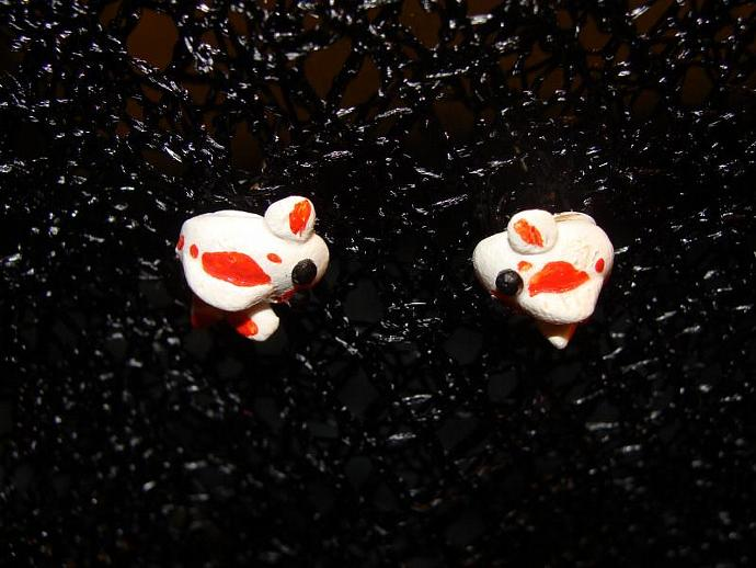 Hand-crafted Orange & White Koi Fish Post Stud Earrings w/ Rhinestones