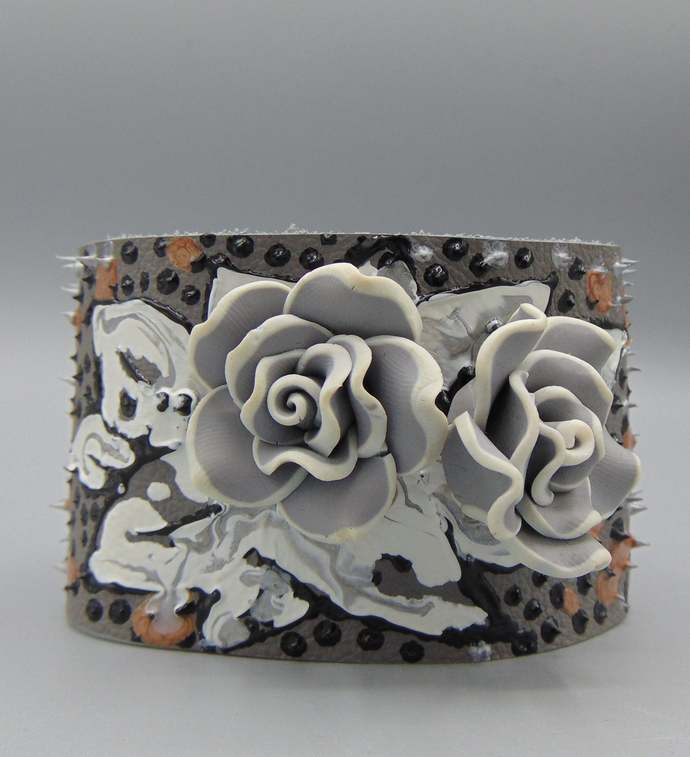 Polymer Roses n Painted Leather Cuff w Teak Clasp