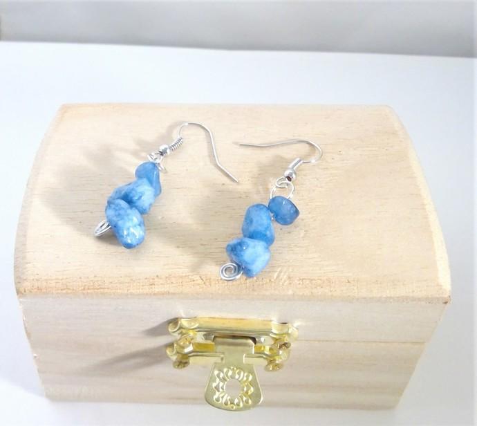 Gemstone Spiral Earrings Handmade Sunstone Amethyst Blue Quartz Drop Earrings