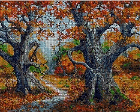 Trees in the fall cross stitch pattern pdf ANCHOR