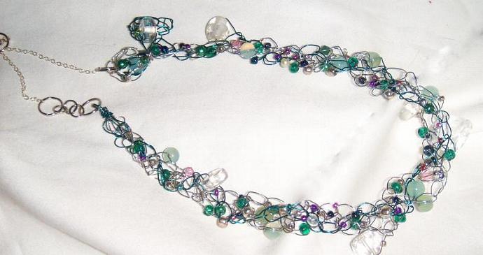 Crocheted Wire Garden Wedding Necklace