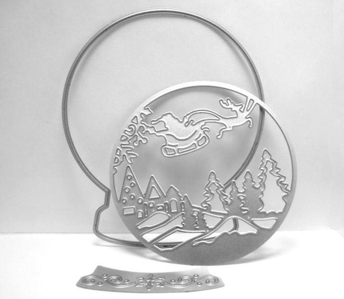 Snow Globe Metal Cutting Die Set with Santa and Reindeer