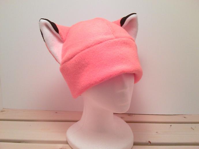 Naruto Hat - Orange Fox Hat - Fox Ears - Fox Fleece Hat - Cosplay Hat - Anime