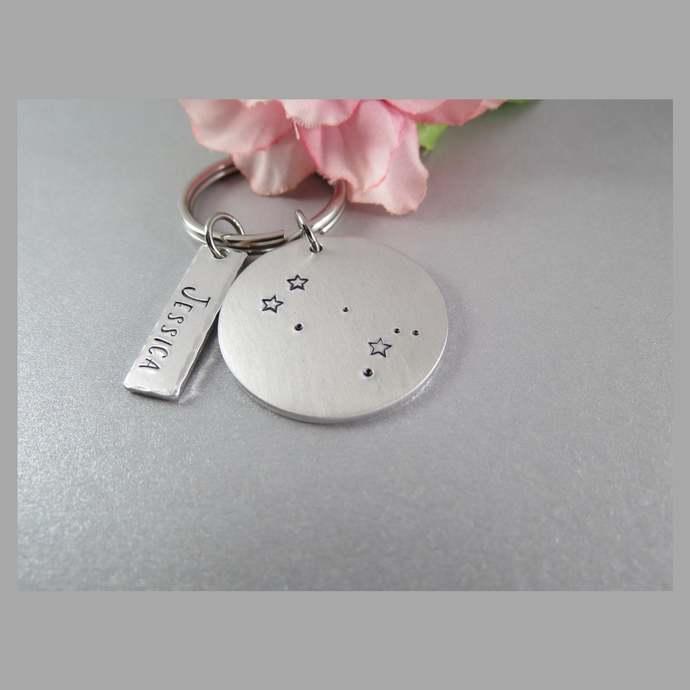 Gemini Constellation Key Chain.  Personalized Hand Stamped Zodiac Key Tag.