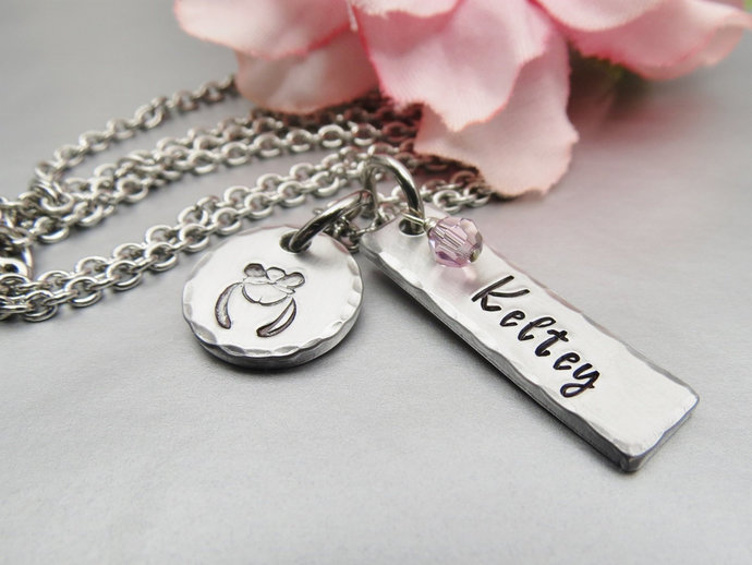 Gemini Zodiac Hand Stamped Personalized Name Necklace. Horoscope Jewellery with