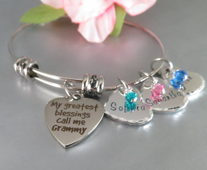 My Greatest Blessings Call Me Grammy Charm Bracelet. Hand Stamped Personalized