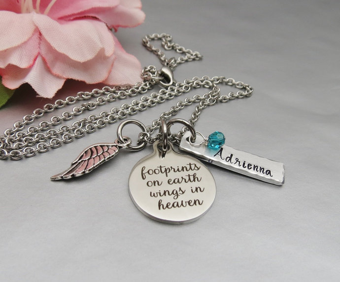 Footprints on Earth Wings in Heaven Personalized Memory Necklace. Hand Stamped